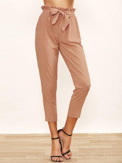 Pantalones de pinzas con lazo en la cintura  99d975624b6c