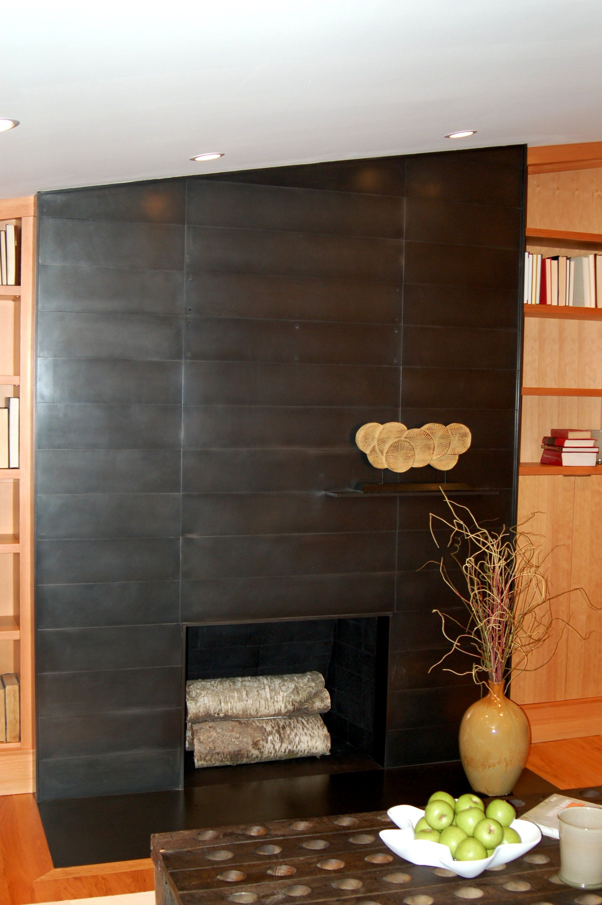 our seattle house and my custom blackened steel fireplace making