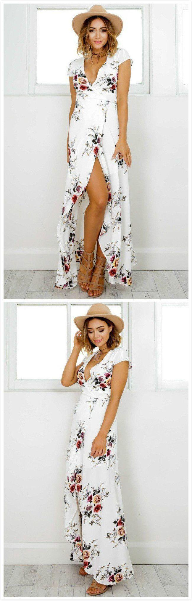 Deep v neck short sleeve floral printed split maxi dress maxi