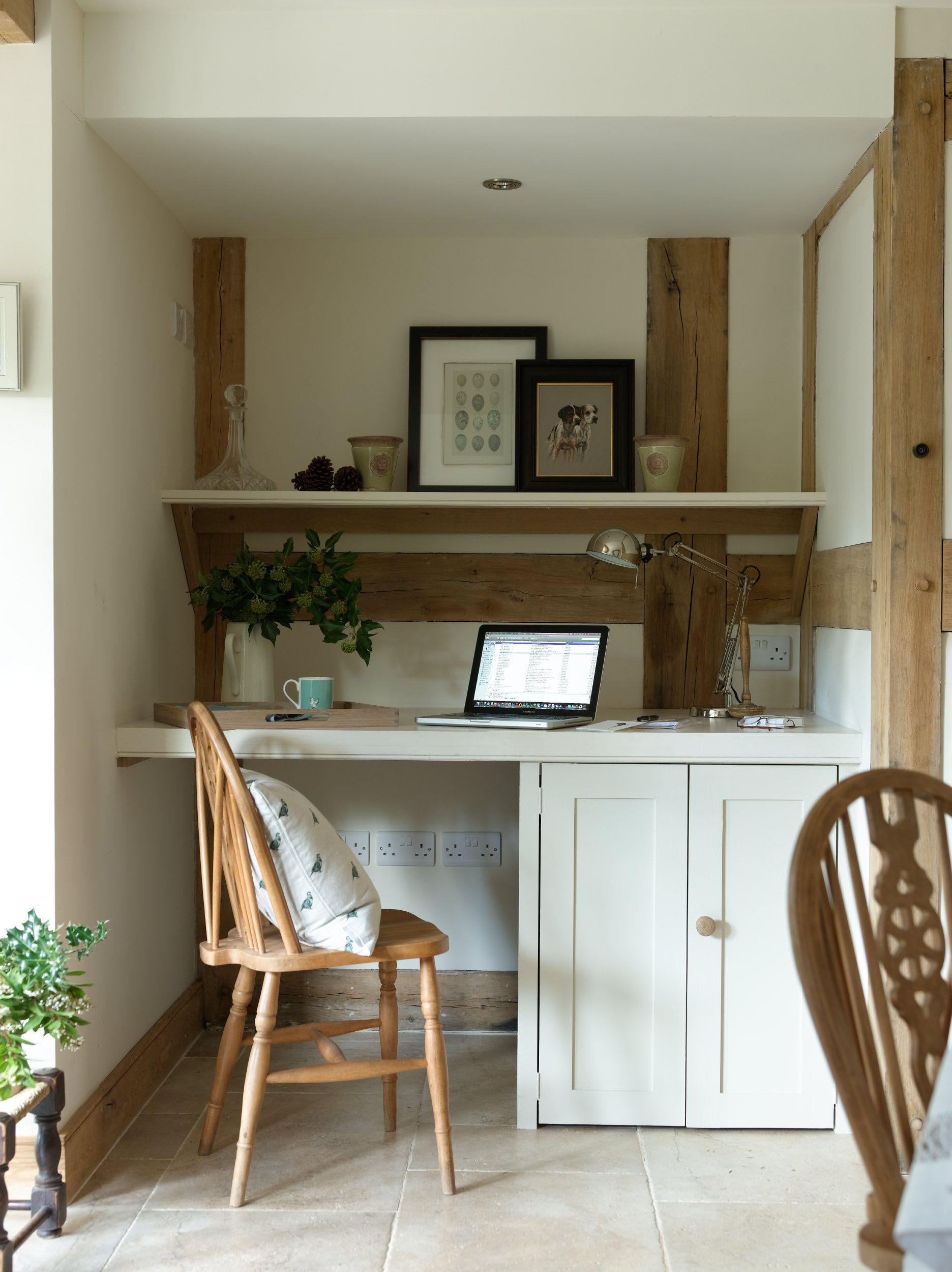 a little nook for paperwork study area in an oak framed
