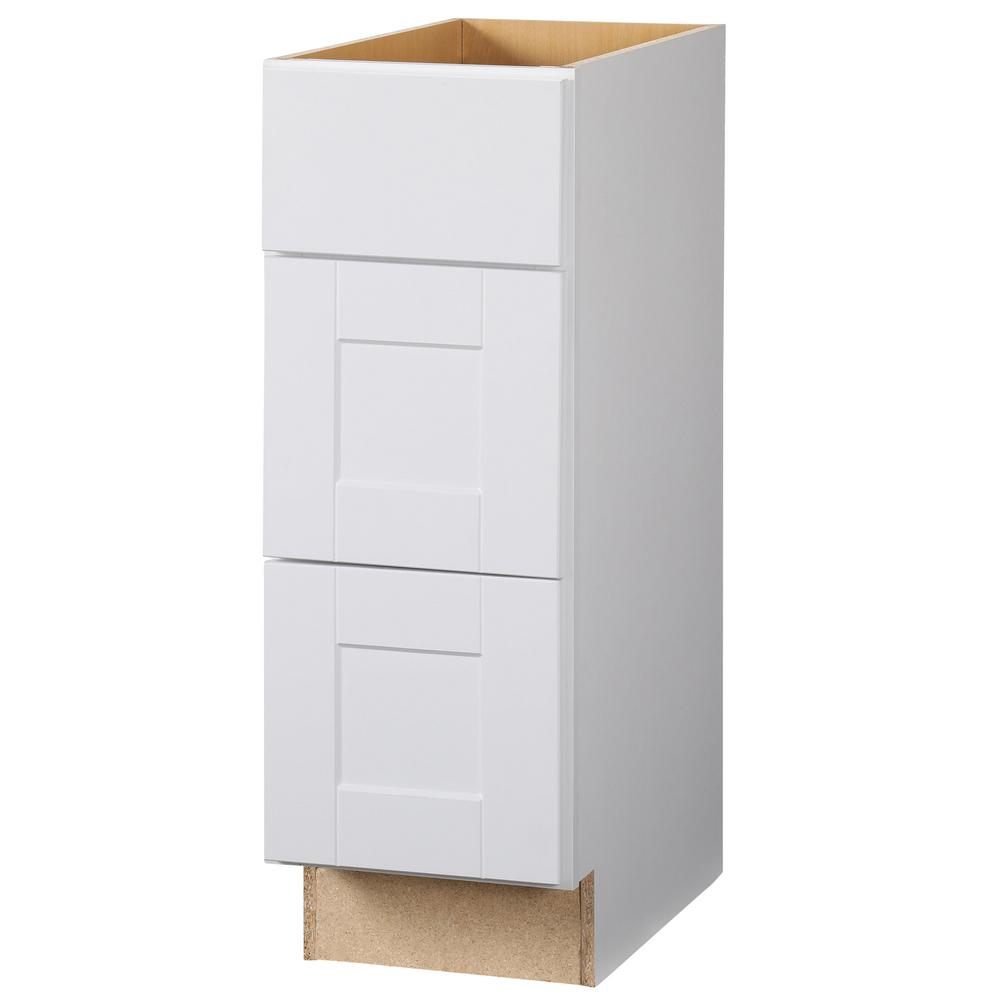 Hampton Bay Shaker Assembled 12x34 5x21 In Bathroom Vanity Drawer Base Cabinet With Ball Bearing Drawer Glides In Satin White Kvdb12 Ssw Vanity Drawers Bathroom Vanity Drawers Base Cabinets