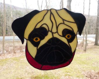 Stained Glass Pug By Woodnglassart On Etsy Stained Glass Crafts