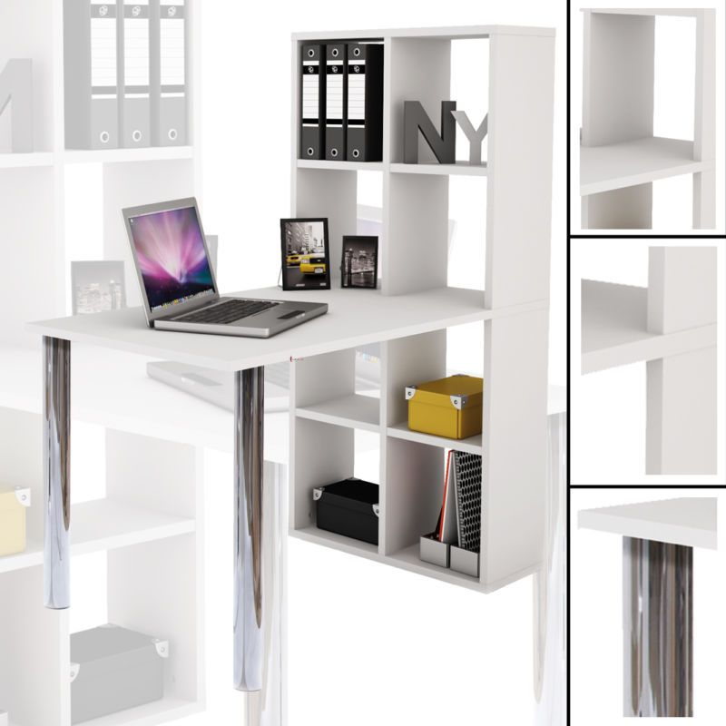 schreibtisch regal weiss b cherregal tisch computertisch. Black Bedroom Furniture Sets. Home Design Ideas