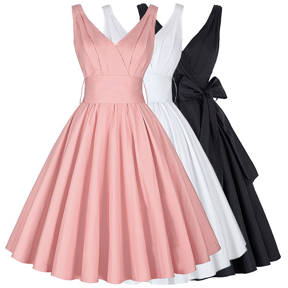 Dress evening flared cocktail retro vintage party swing s s