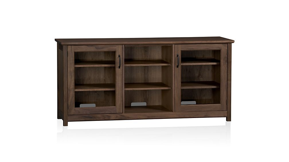 Ainsworth Walnut 64 Media Console With Gl Wood Doors Crate And Barrel
