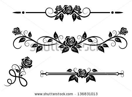 Rose Flowers With Vintage Elements And Borders Jpeg Bitmap Version Also Available In Gallery Rose Stencil Clip Art Borders Rose Flower
