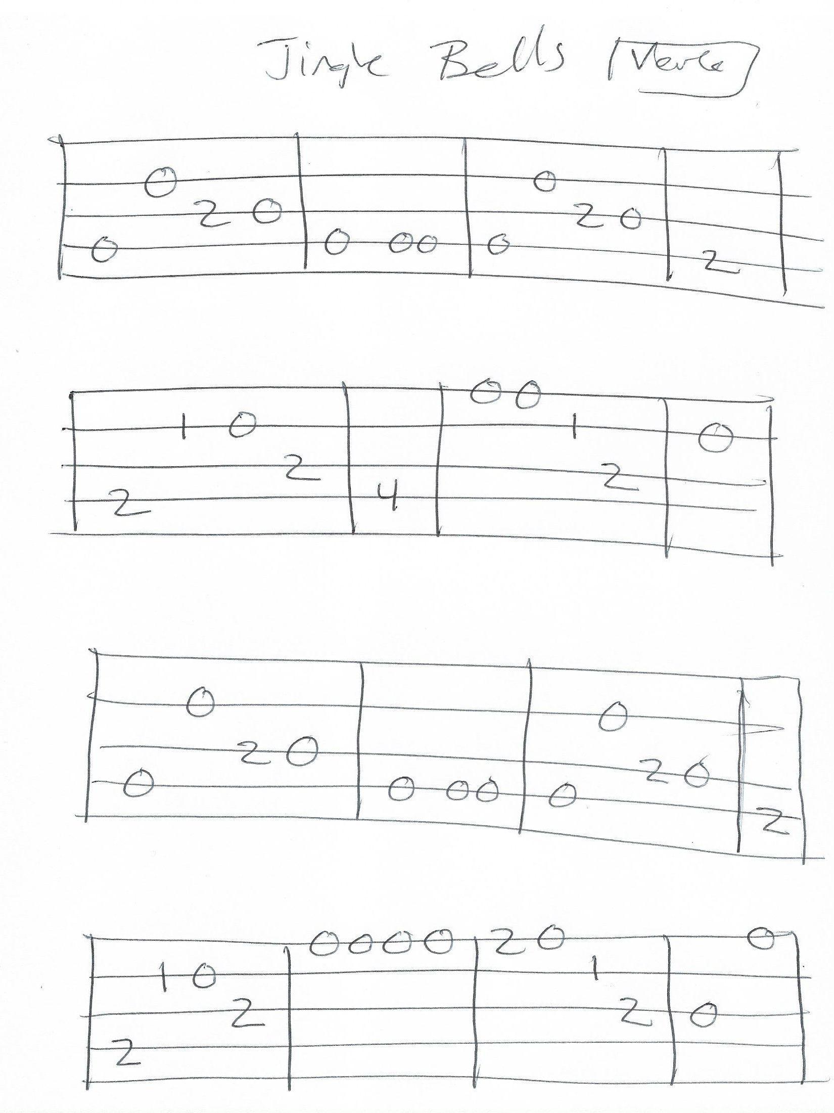 Jingle Bells - Banjo TAB in G - Page 1 of 2 | Banjo tabs, Banjo, Jingle bells