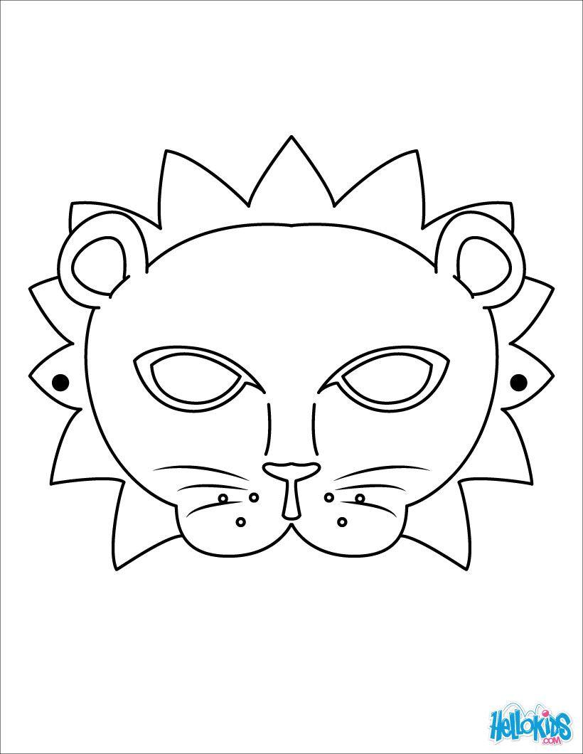 Masque de lion Lion mask Coloriage pour enfants