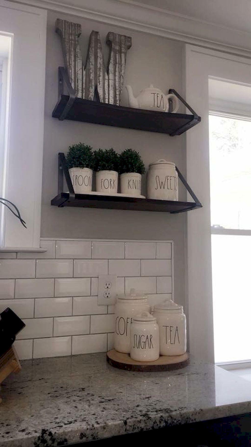 farmhouse open shelves kitchen decor ideas domakeover also house decorations rh pinterest