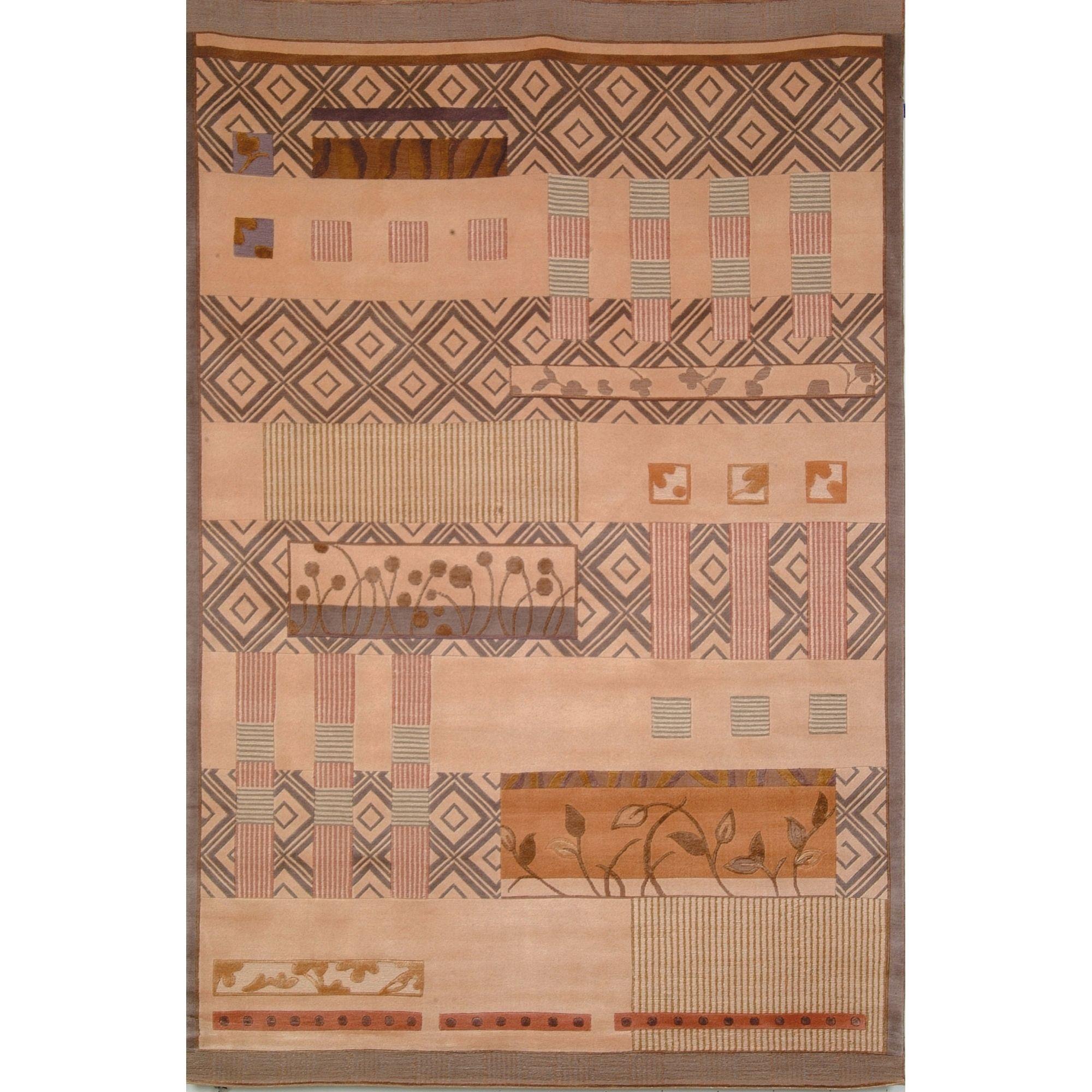 Safavieh Hand-knotted Tibetan Contemporary Beige Wool/ Silk Rug (5' x 7'6)