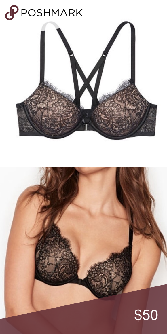 eec619ece5 Bombshell Bra Front-Close Black Wildflower Lace New Victoria s Secret bra  34C Bombshell adds 2