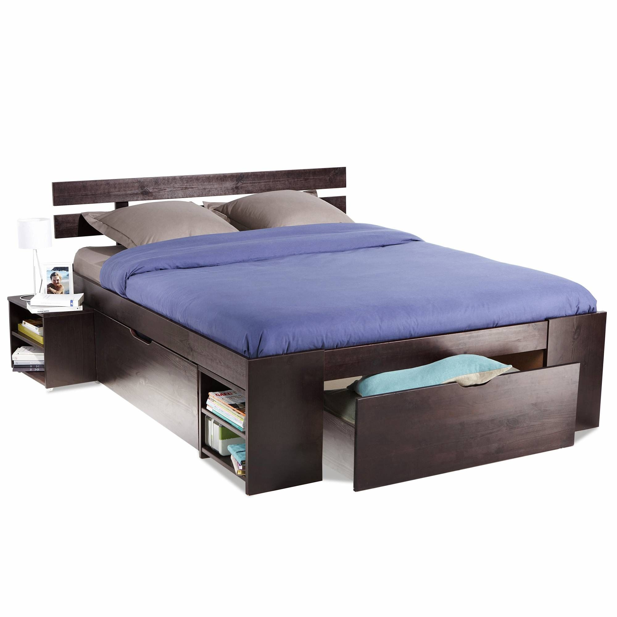 lit gain de place en pin massif certifi fsc 3 suisses. Black Bedroom Furniture Sets. Home Design Ideas