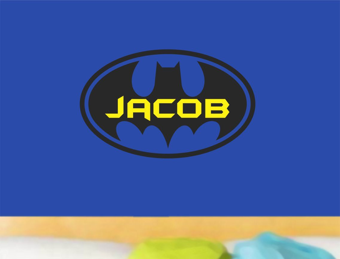 Batman wall decal boy name bedroom vinyl decor by allonthewall 19 00