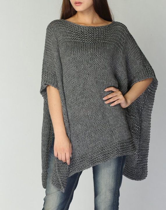 Hand knitted Poncho/ capelet in Charcoal eco cotton poncho - ready ...