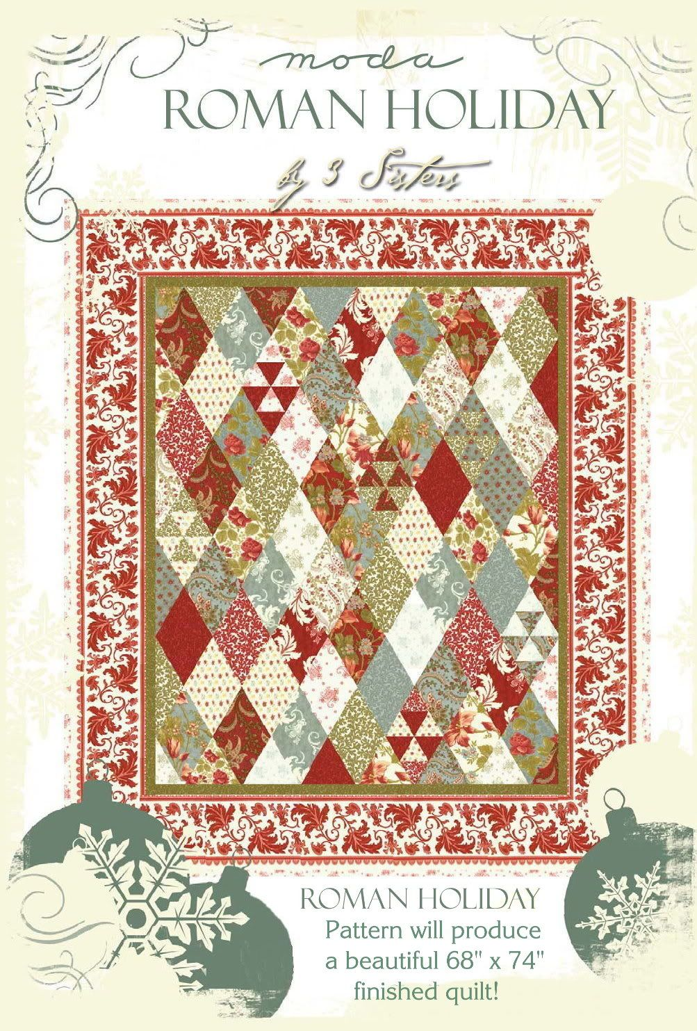 ROMAN HOLIDAY QUILT PATTERN + Moda CHARM PACK by 3 SISTERS Fabric ... : moda quilt fabric - Adamdwight.com