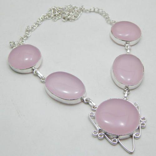 Natural gemstone pink rose quartz 925 sterling silver jewelry handmade necklace
