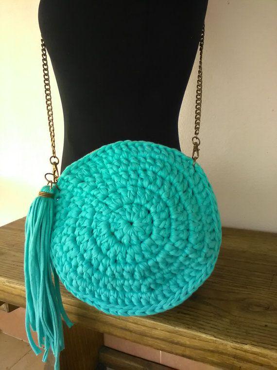 Round Pursebag Turquoise Crossbody Round Crochet Another Hobby