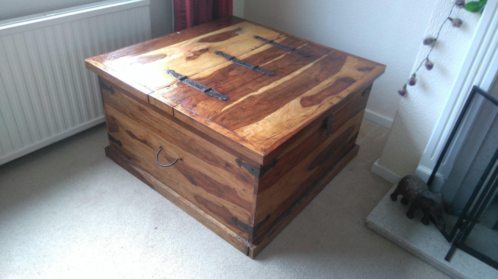 Large stunning sheesham chest coffee table storage toy blanket box