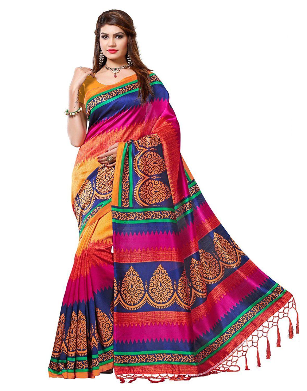 44242aa1f32 e-VASTRAM Women s Mysore Art Silk Saree with Blouse  Piece(NSTASSELMULTI Multi)  Amazon.in  Clothing   Accessories