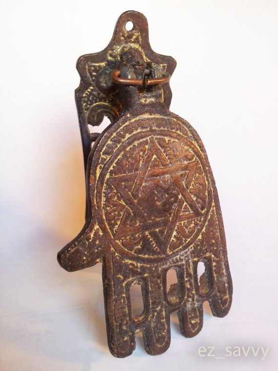 Antique Style Bronze Jewish Hamsa Door Knocker Vintage Design With