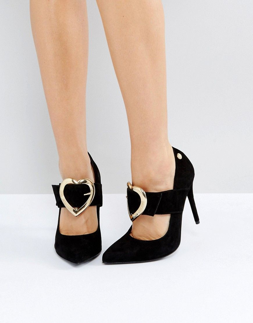 Moschino Heart Buckle Heeled Platform Sandal
