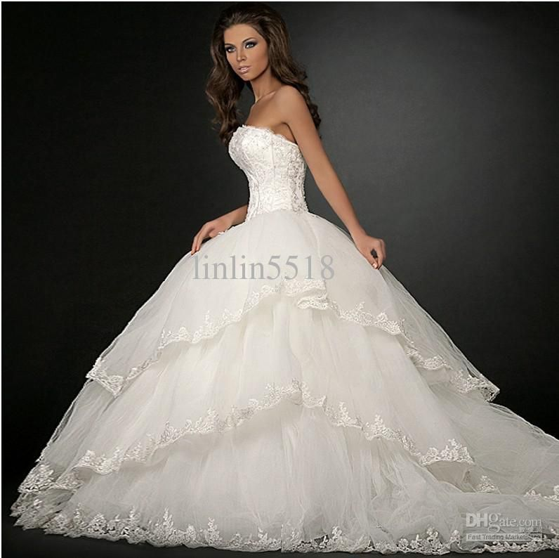 Cheap 2013 Luxury Organza Big Skirt Bride Ball Gown Wedding ...
