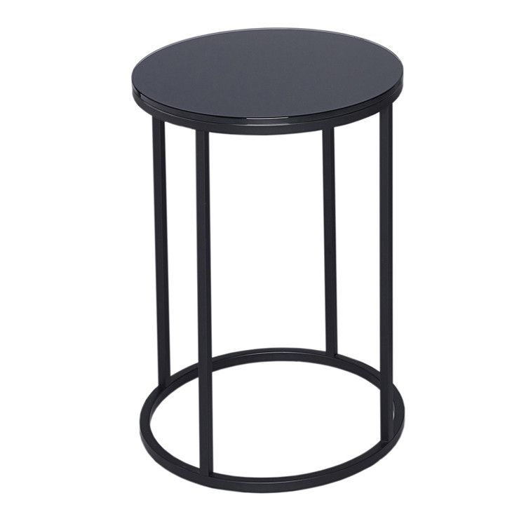 Round Black Gl Side Table Or Lamp Stand Allissias Attic Vintage French Style