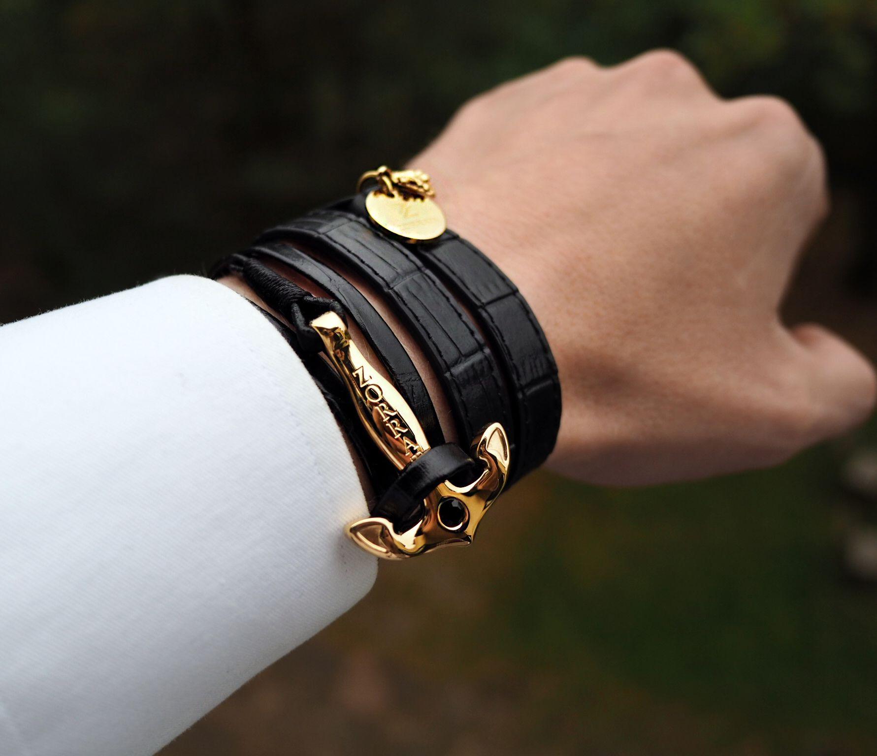 1aba747d2e7ef Anchor Gold Leather Bracelet   Sygnet i biżuteria   Biżuteria i Moda