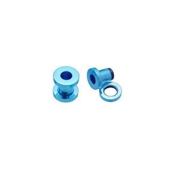 Amazon.com: Neon Blue Titanium (12 Gauge) Screw On -Fashion Ear Plug... ❤ liked on Polyvore