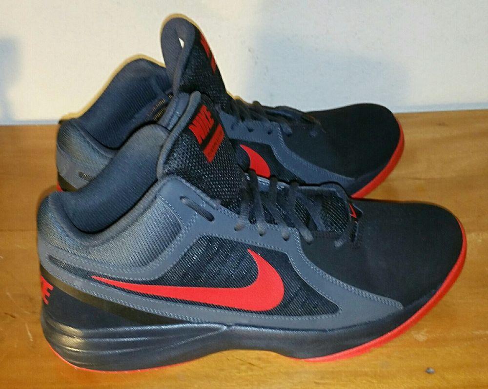 Mens Nike Overplay Viii Black Bright Crimson Basketball Shoes Size 12 Nike Basketballshoes Nike Mens Black Leather Nike Men