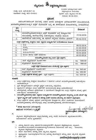 Mysore University BA BSC BCOM Time Table 2018-www uni-mysore