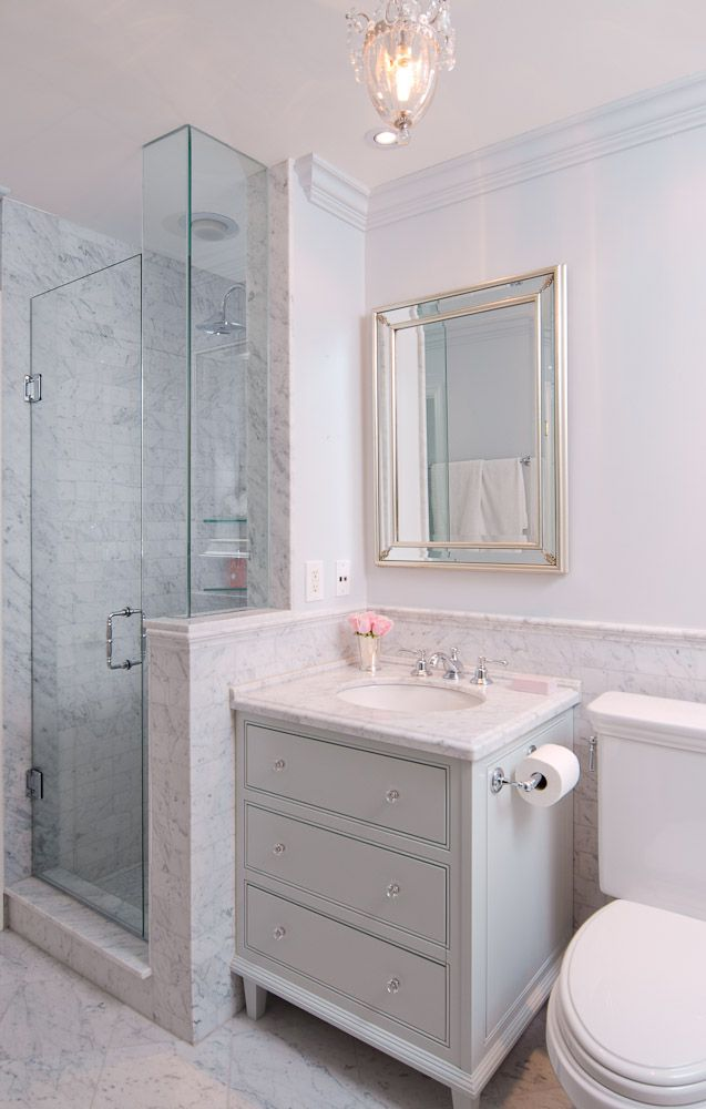 Marble Detail Cabinet Vanity In Classic Glam Bathroom By Emily Hollis Beautiful Bathroom