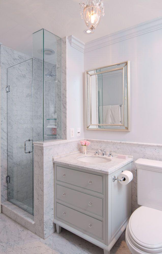 Marble Detail Cabinet Vanity In Classic Glam Bathroom By Emily Hollis Bathroom Layout Cheap Bathroom Vanities Bathroom Design