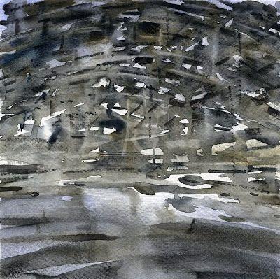 GRISAZUR: Acuarela sobre papel, 20x20 cm.May. 22, 2015