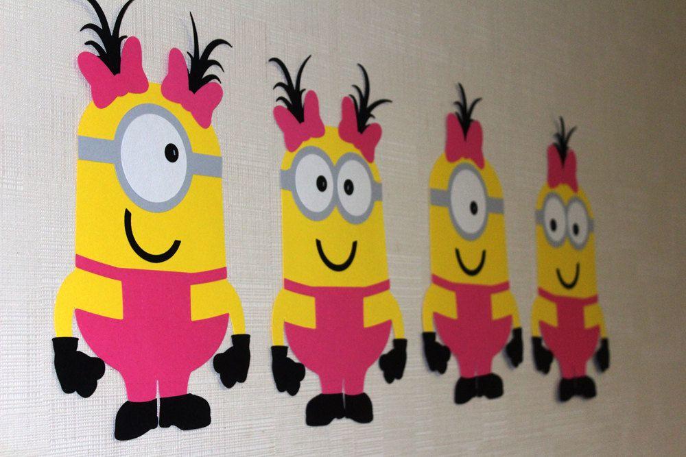 Minion Girls Figures wall decor for birthday party, Custom Minion ...