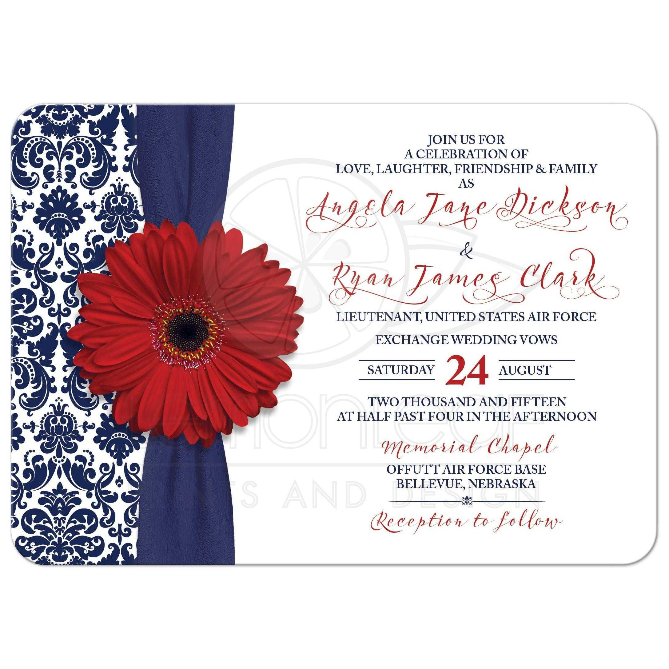 Wedding Invitation Military Red Gerber Daisy Navy Damask | Damasks ...