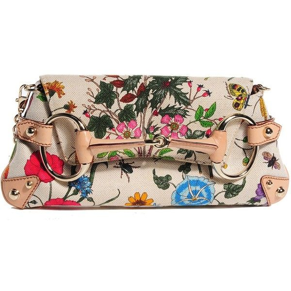 ddf50fbed51b GUCCI Canvas Flora Floral Horsebit Clutch ❤ liked on Polyvore featuring  bags, handbags, clutches, gucci, floral purse, floral handbags, gucci  purses and ...