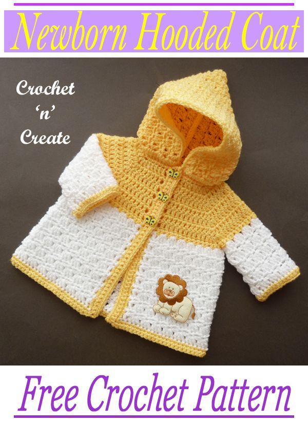 Crochet Newborn Hooded Coat - Free Baby Pattern On Crochet &039;N&039; Create - Baby Crochet