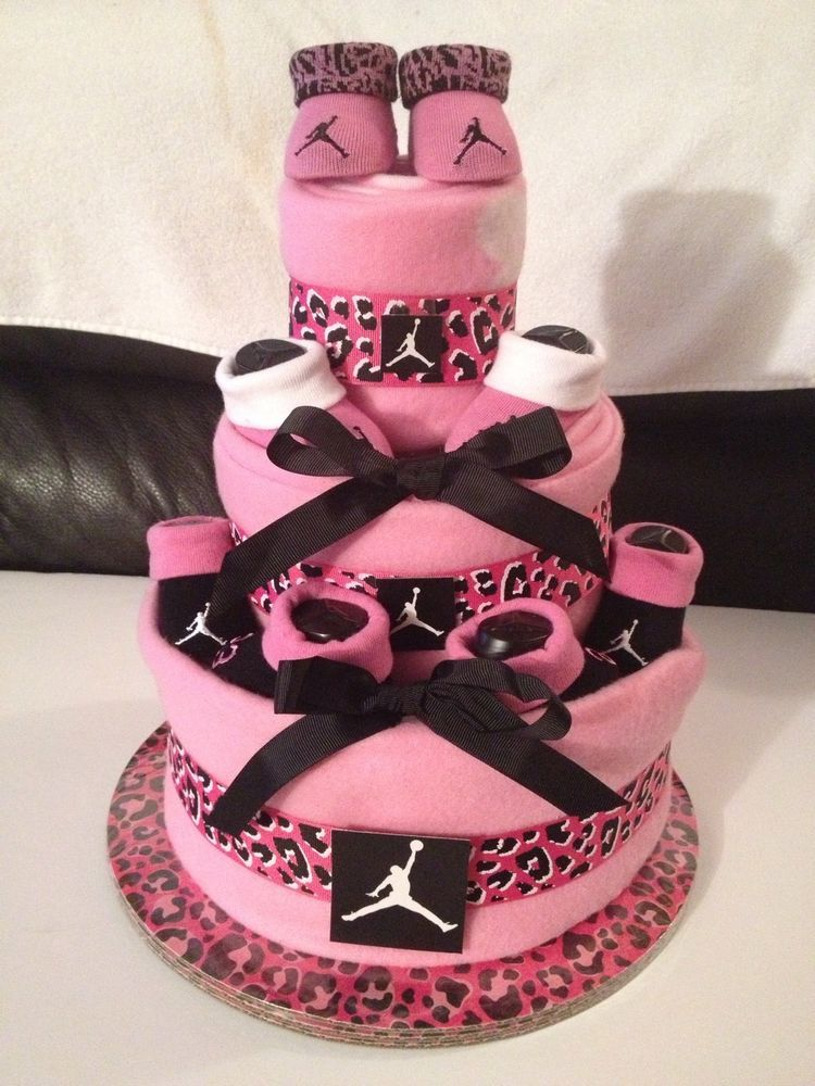 New NIKE Air Jordan Baby Diaper Cake Pink Zebra Print Baby Shower  Centerpiece