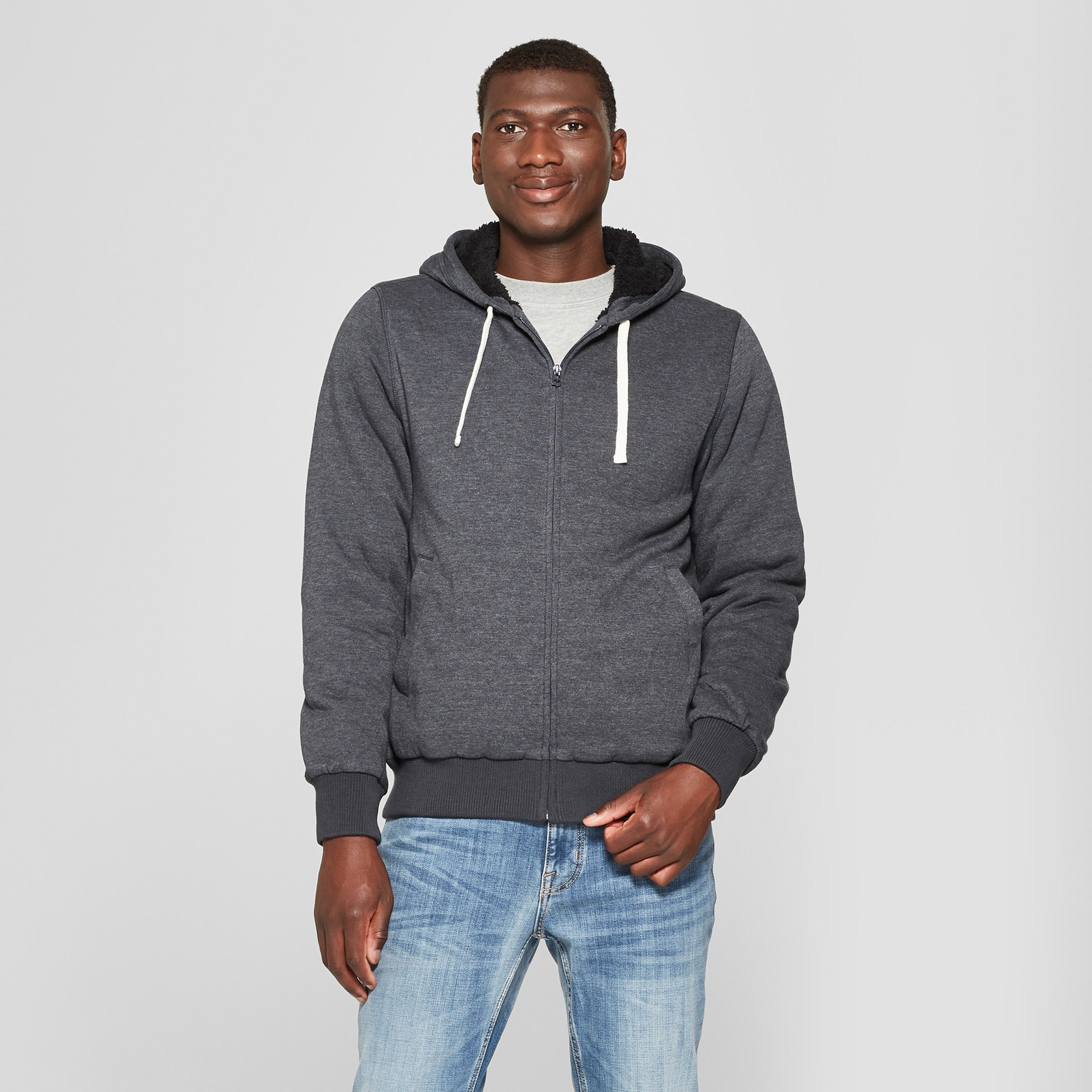 Men's Sherpa Fleece Jacket Goodfellow & Co Black 2XL