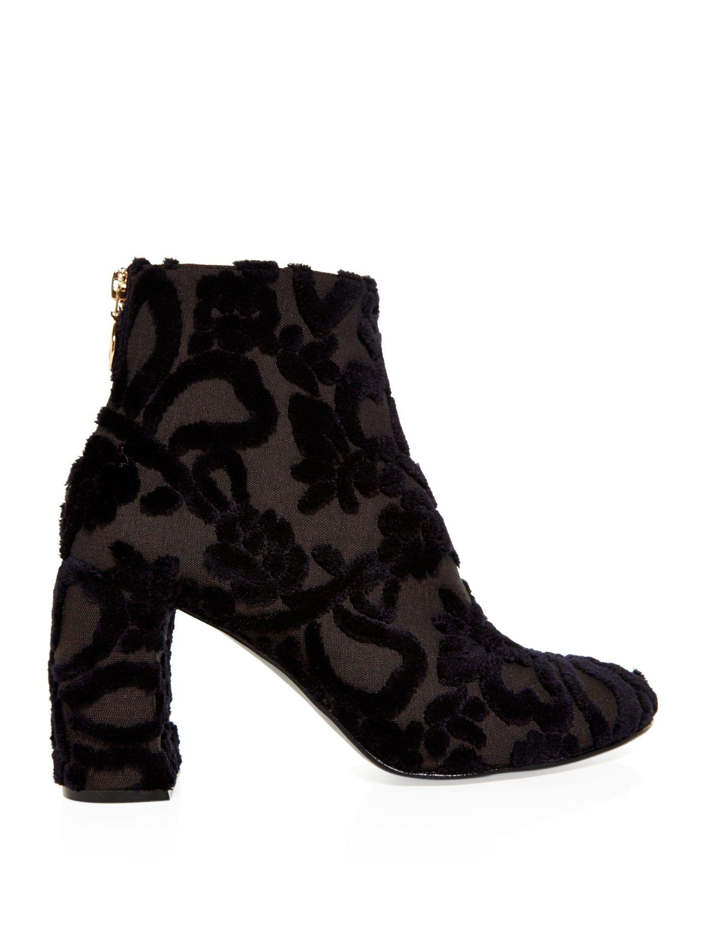 Stella McCartney Black Velvet Lug Sole Zip Boots 6s0SbnK1EE