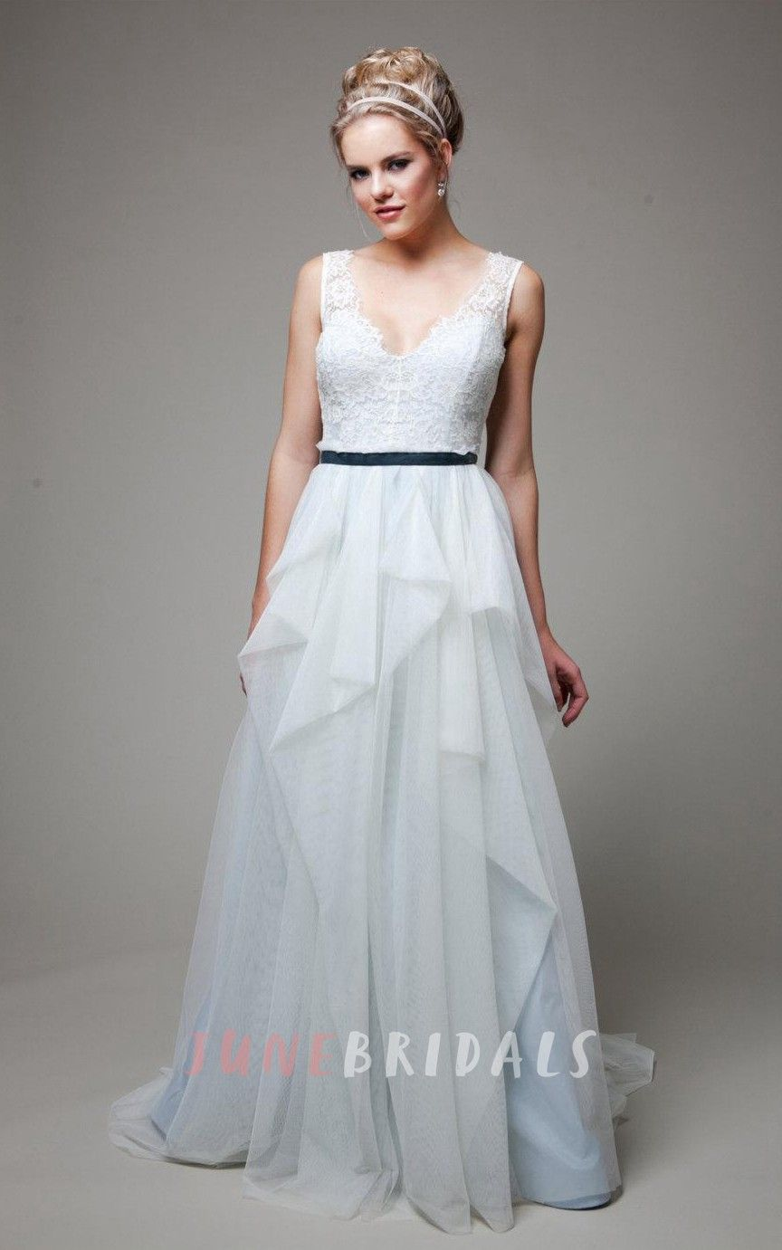 Vneck sleeveless lowv back long tulle wedding dress with sash and