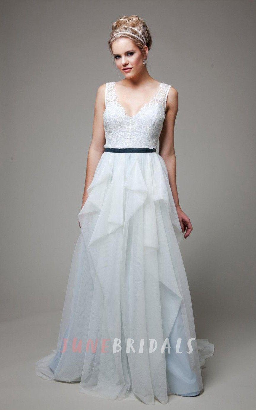VNeck Sleeveless LowV Back Long Tulle Wedding Dress With Sash And