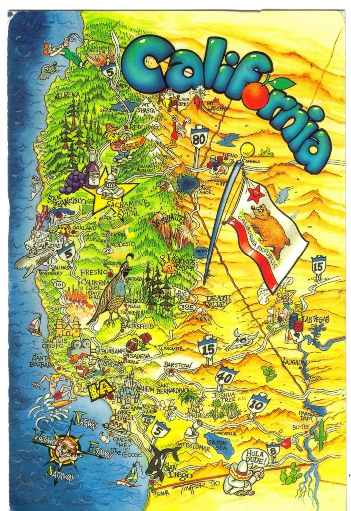 Vintage California Missions Map Postcard Lugares