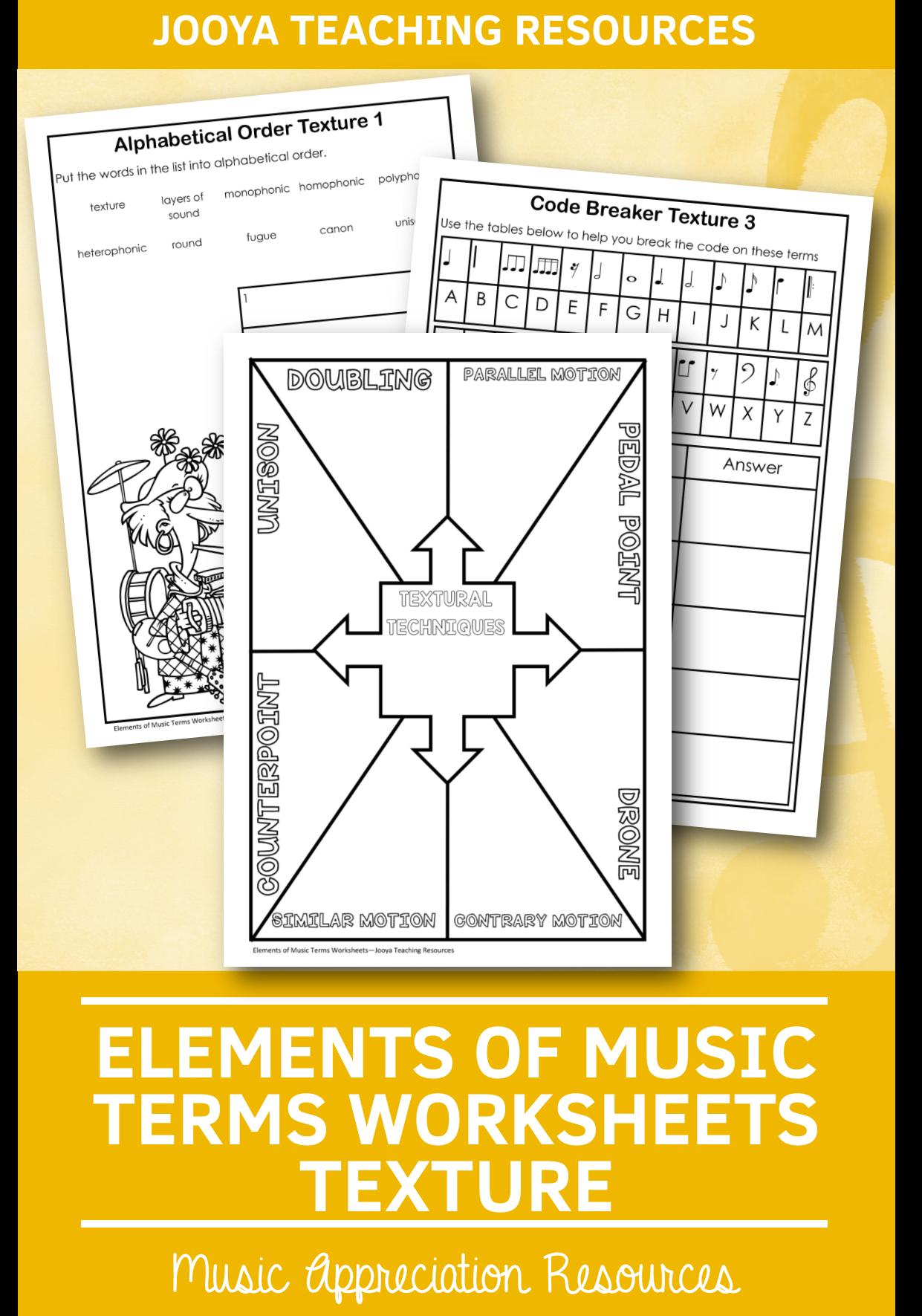 Elements Of Music Worksheet Activities