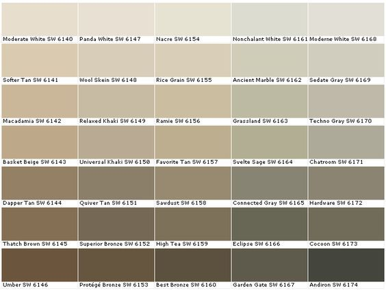 tan color paintSherwin Williams SW6140 Moderate White SW6141 Softer Tan SW6142