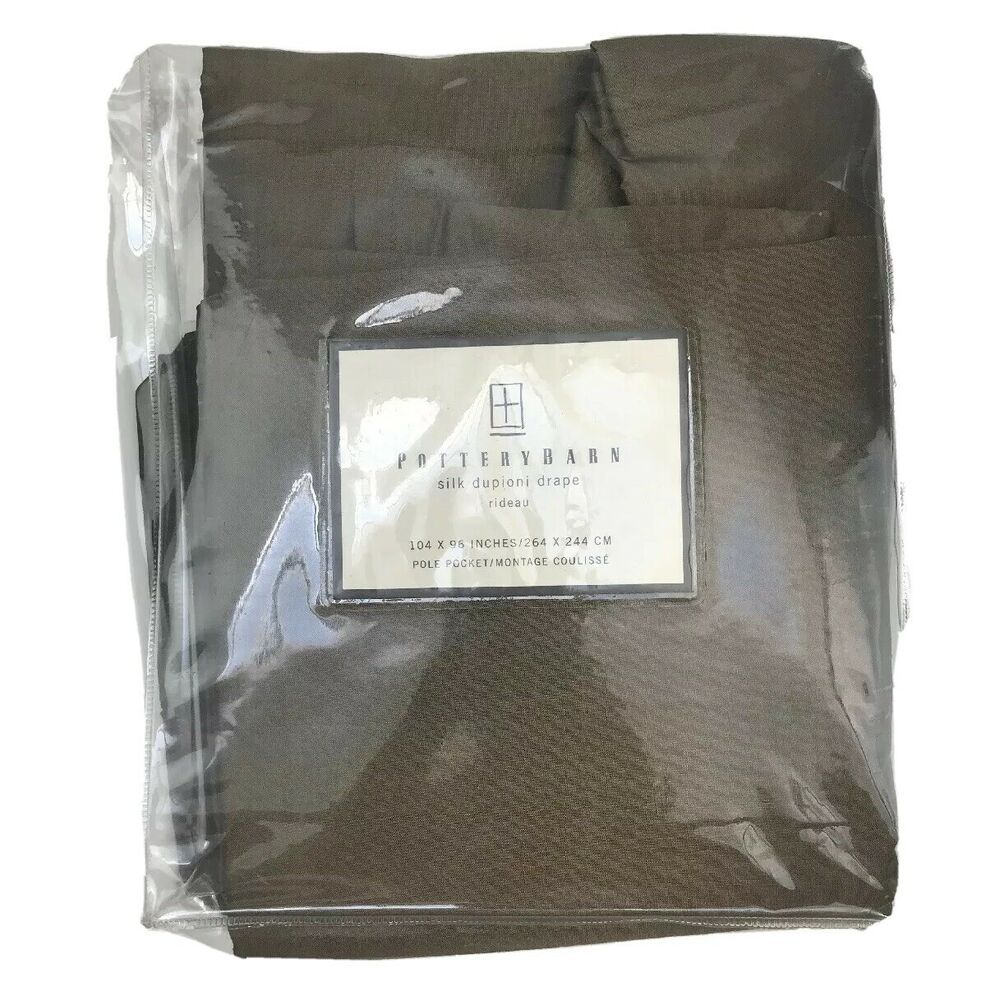 Pair Of Pottery Barn 100% Silk Drape 104 X 96 Pole Pocket