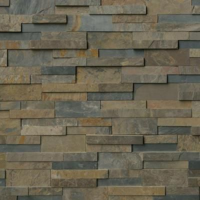 Msi Rustic Gold Ledger Panel 6 In X 24 In Natural Slate Wall Tile 10 Cases 60 Sq Ft Pallet Lpnlsrusgld624 The Home Depot Stacked Stone Panels Slate Wall Tiles Stone Panels