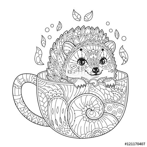 Cute Hedgehog In Cup Coloring Page Zentangle Style Animal Coloring Pages Coloring Pages Antistress Coloring