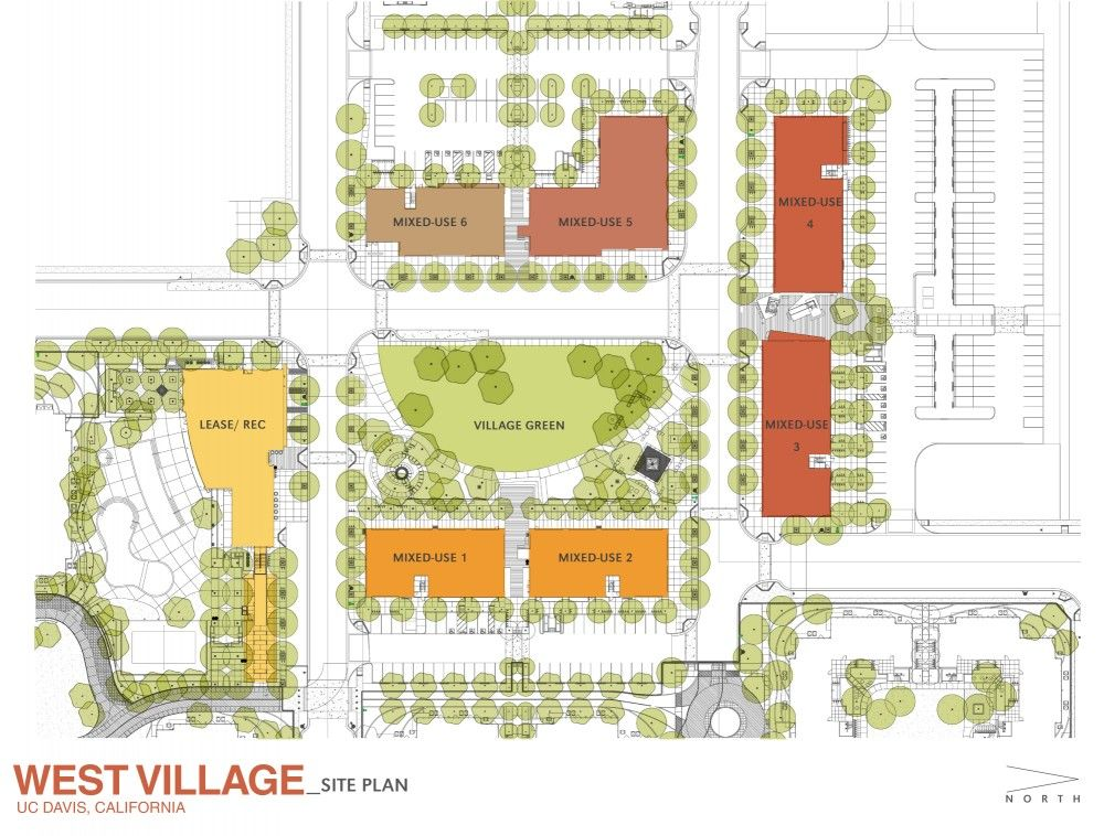 site plan for the village square at west village at uc davis